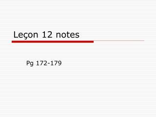 Leçon 12 notes
