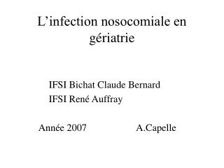 L�infection nosocomiale en g�riatrie
