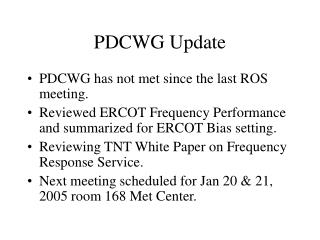 PDCWG Update