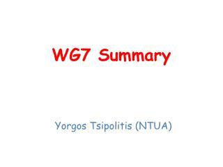 WG7 Summary