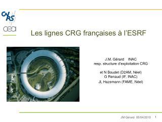Les lignes CRG françaises à l'ESRF