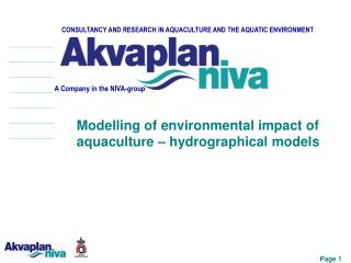 CONSULTANCY AND RESEARCH IN AQUACULTURE AND THE AQUATIC ENVIRONMENT