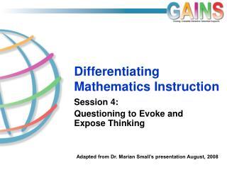 Differentiating Mathematics Instruction