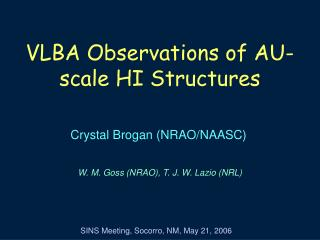 VLBA Observations of AU-scale HI Structures