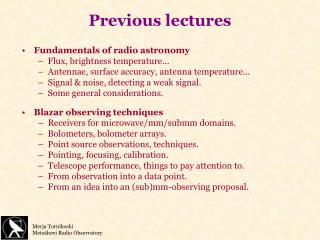 Previous lectures