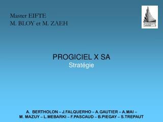 PROGICIEL X SA Stratégie