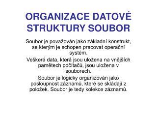 ORGANIZACE DATOVÉ STRUKTURY SOUBOR