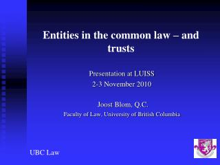 Entities in the common law – and trusts