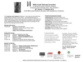 Bible Lands Museum Jerusalem an international scholarly conference on presents