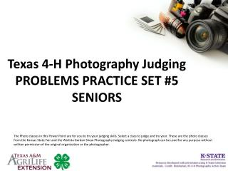 Texas 4-H Photography Judging PROBLEMS PRACTICE SET #5 SENIORS