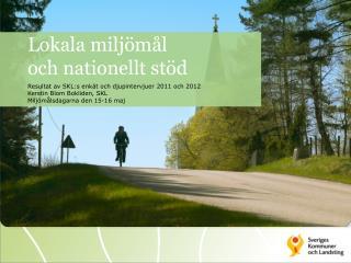 Lokala miljömål  och nationellt stöd