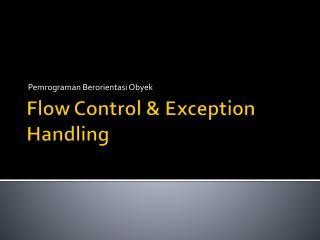 Flow Control & Exception Handling