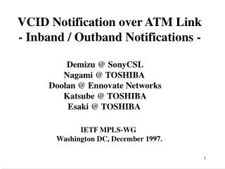 VCID Notification over ATM Link - Inband / Outband Notifications -