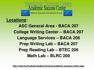 Locations : ASC General Area - BACA 207 College Writing Center – BACA 207