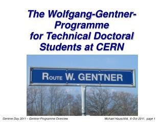 The Wolfgang-Gentner-Programme for Technical Doctoral Students at CERN