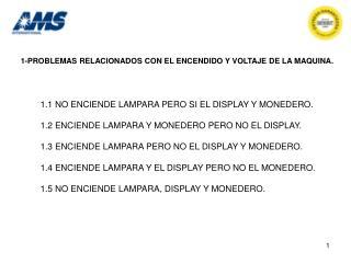 1-PROBLEMAS RELACIONADOS CON EL ENCENDIDO Y VOLTAJE DE LA MAQUINA.