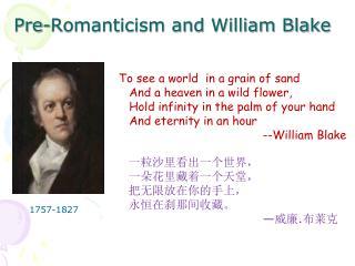 Pre-Romanticism and William Blake