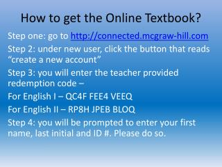 How to get the Online Textbook?
