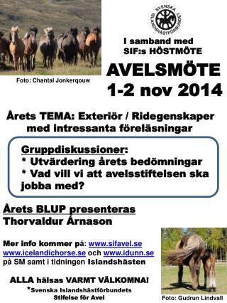 AVELSMÖTE 1-2 nov 2014