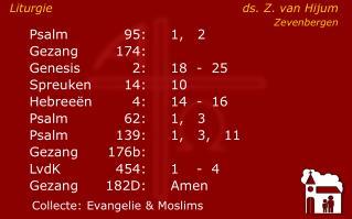 Psalm95:1,   2 Gezang174:  Genesis2:18-  25    Spreuken14:10