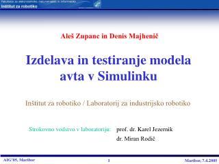 Izdelava in testiranje modela avta v Simulinku