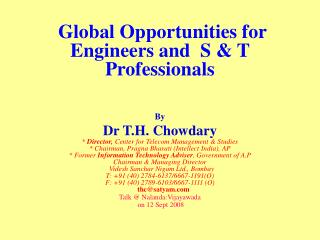 Global Opportunities for Engineers and  S & T Professionals