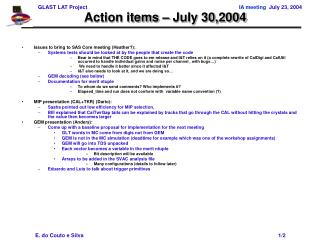 Action items � July 30,2004