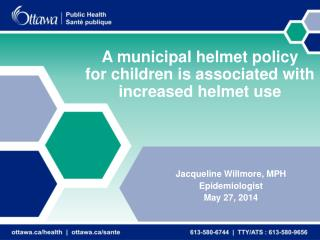 A municipal helmet policy  for children is associated with increased helmet use