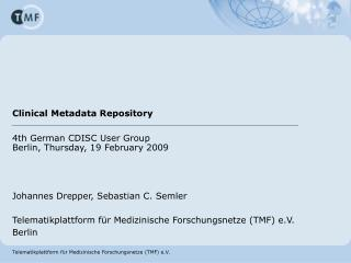 Clinical Metadata Repository