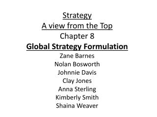 Strategy  A view from the Top Chapter 8 Global Strategy Formulation Zane Barnes Nolan Bosworth Johnnie Davis Clay Jones
