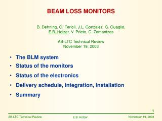 BEAM LOSS MONITORS
