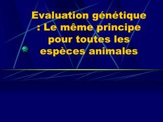 Evaluation génétique : Le même principe pour toutes les espèces animales