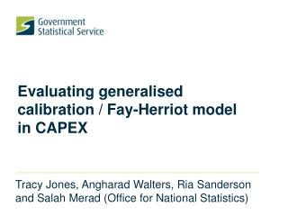 Evaluating generalised calibration / Fay-Herriot model in CAPEX