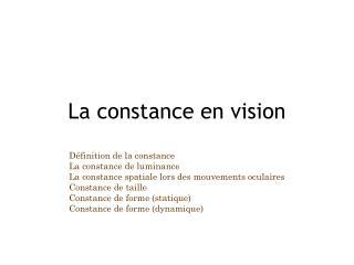 La constance en vision