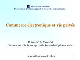 Université de Montréal Département d'informatique et de recherche opérationnelle