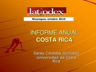 INFORME ANUAL  COSTA RICA