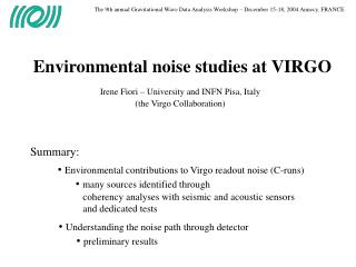 Environmental noise studies at VIRGO