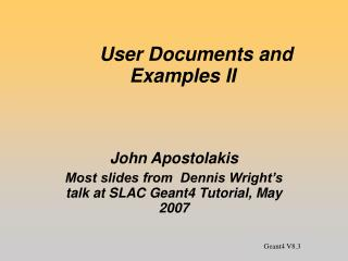 User Documents and Examples II