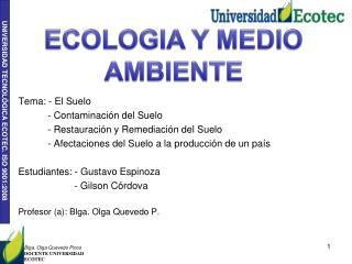 Tema: - El Suelo            - Contaminación del Suelo