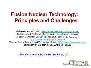 Fusion Nuclear Technology:  Principles and Challenges