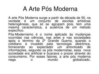 A Arte Pós Moderna