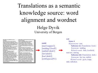 Translations as a semantic knowledge source: word alignment and wordnet