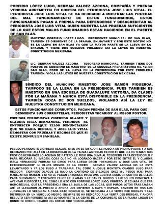 SHCP HARA AUDITORIA AL TESORERO                      DE SAN BLAS GERMAN VALDEZ AZCONA