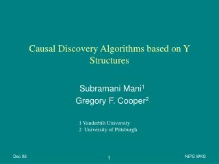 Causal Discovery Algorithms based on Y Structures