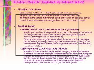 RUANG LINGKUP LEMBAGA KEUANGAN BANK