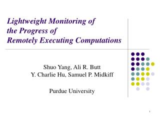Lightweight Monitoring of  the Progress of  Remotely Executing Computations