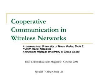 Cooperative Communication in Wireless Networks