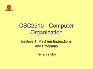 CSC2510 - Computer Organization
