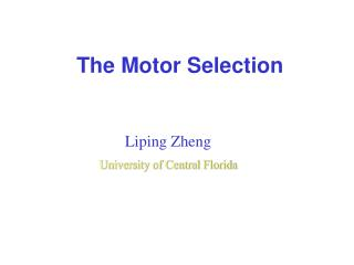 The Motor Selection