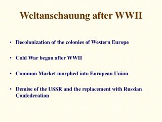 Weltanschauung after WWII
